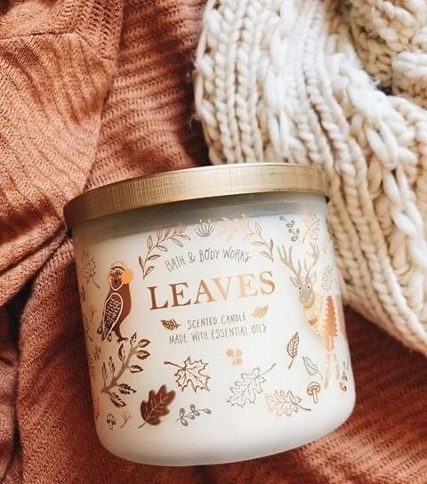 bath and body works fall candle  made with essential oils