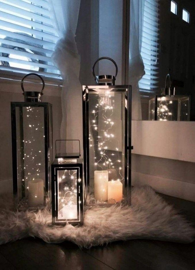set of chic glass lanterns with fairy lights