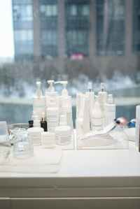 skin care products with a view of city apartment