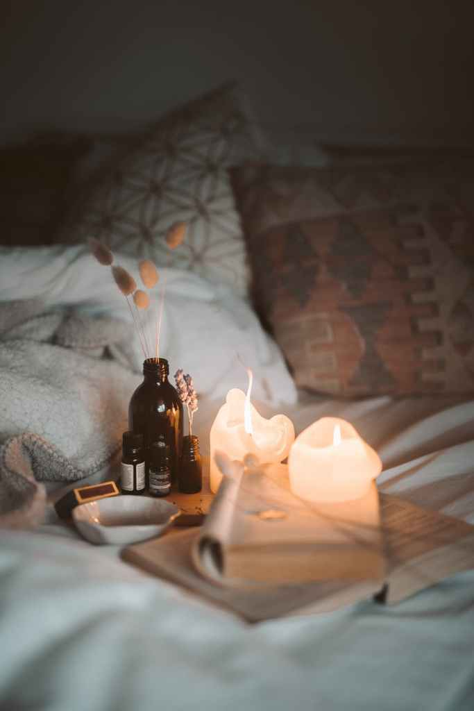 bedtime routine candles bookes cosy bed