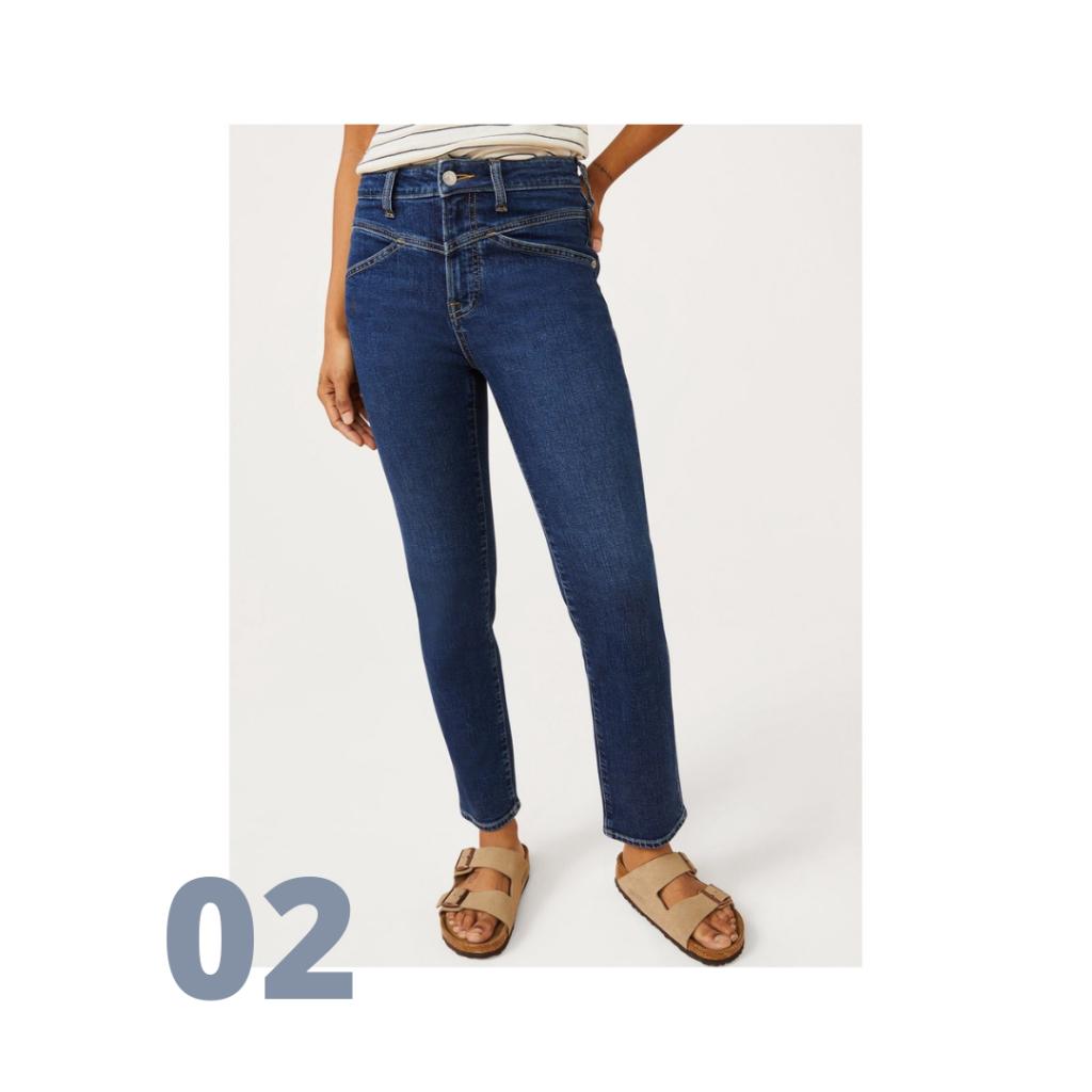 V-front women's jeans