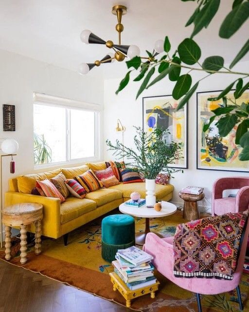 modern boho colourful living room