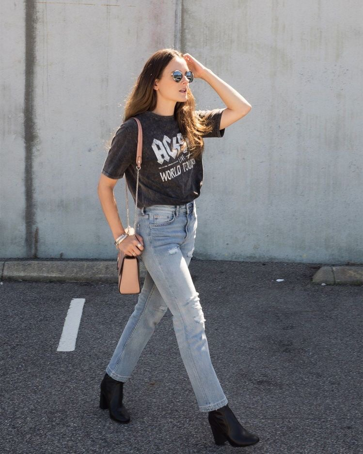 casual outfit ac/dc t-shirt