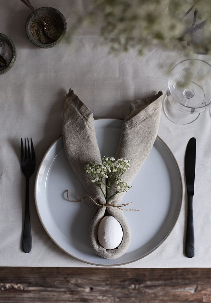minimal easter tablescape with neutrals