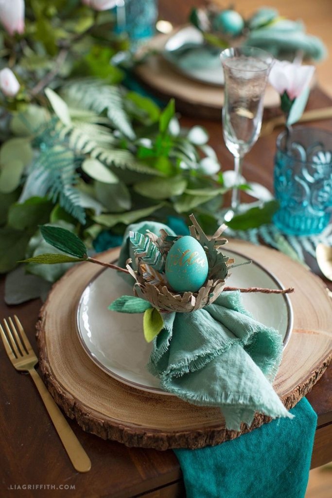 teal inspired easter table