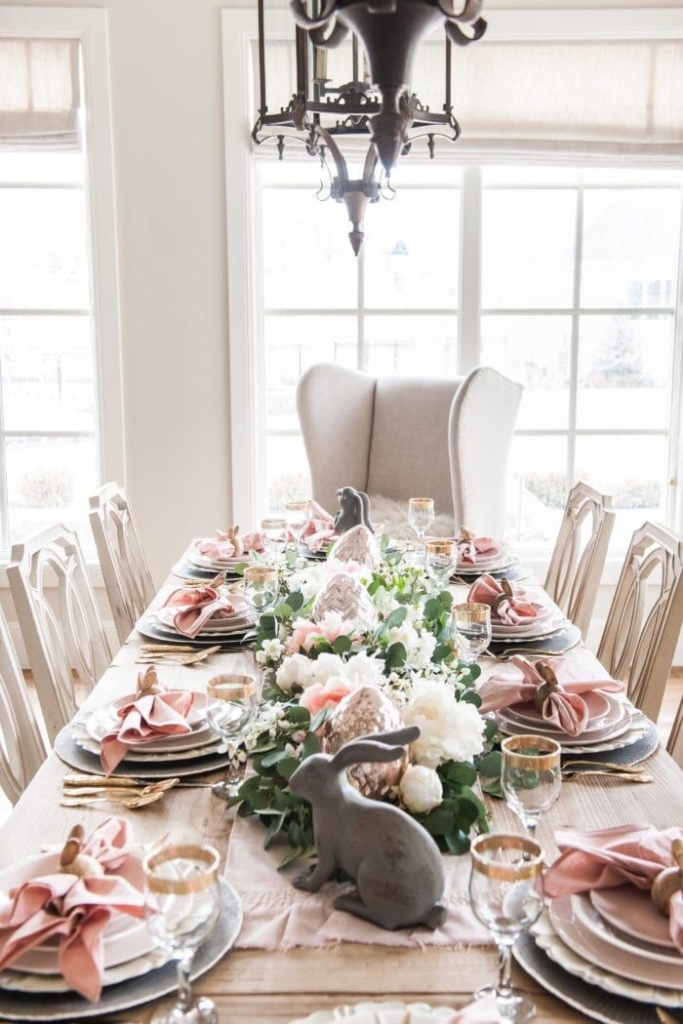 pink themed easter tablescape