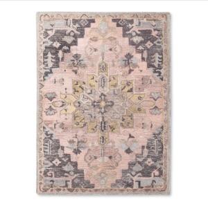 vintage rug  pink and grey