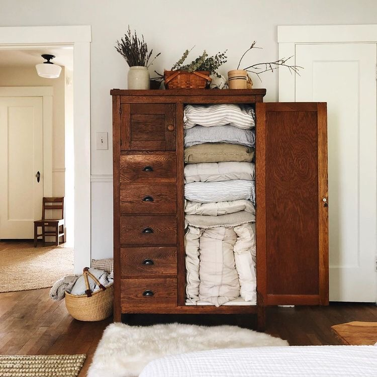 Vintage wood wardrobe