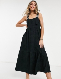ASOS DESIGN dungaree midi sundress in bubble texture in black