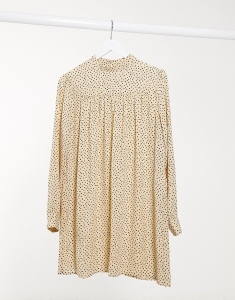 Only smock dress with high neck in yellow polka dot