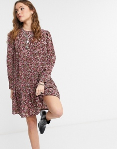 Only mini smock dress with pep hem in purple floral