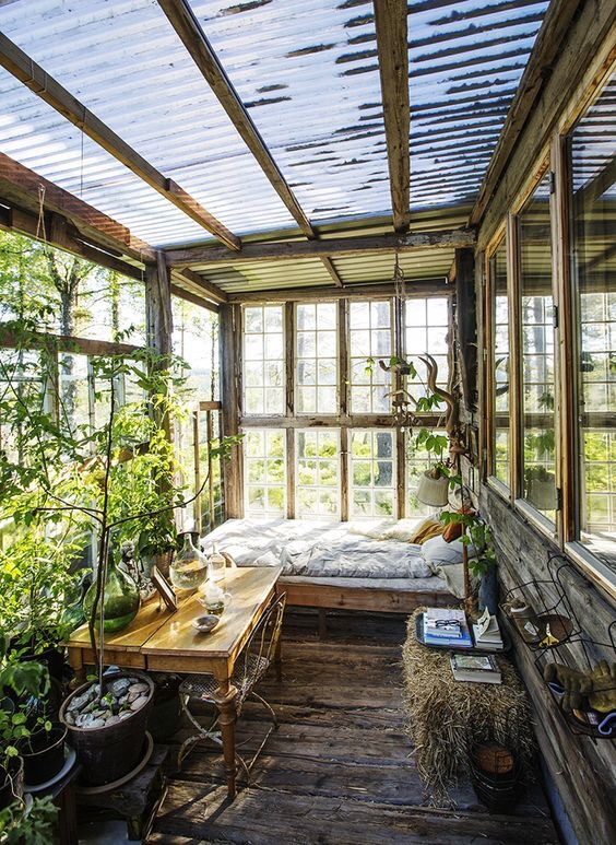 Greenhouse room extension from house home office