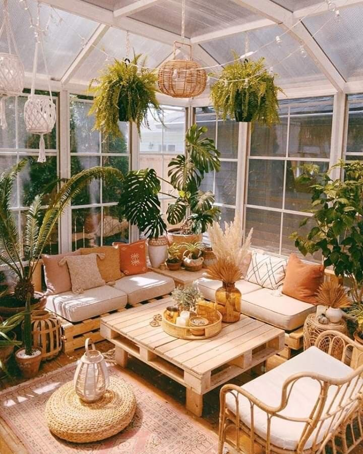 Greenhouse gathering space for entertaining