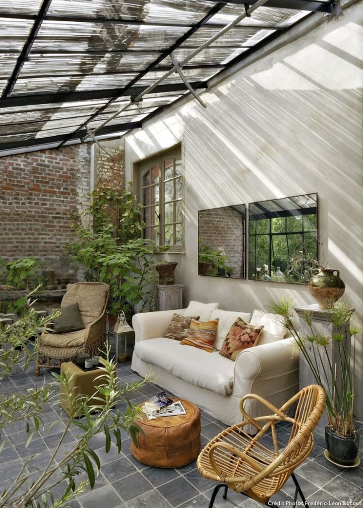 Greenhouse room extension onto house outdoor living