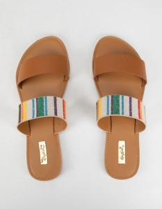 Qupid Woven Two Strap sandals. Features a double strap upper with a faux leather/woven strap. Metal Qupid logo plate at the sole. Synthetic rubber outsole. Slip-on design. Imported.