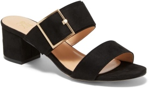 Two-Strap Buckle Heel Sandal A simple upscale style, this mule sandal has two straps and a buckle detail for a look that's both versatile and comfortable. Overview Open toe. Faux-suede. Two straps with buckle detail. Slip-on. Heel height: 2 inches. Imported.
