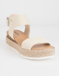 """Soda Giggle espadrille flatform shoes. Synthetic braided upper with straps across foot. Adjustable ankle strap with metal roller buckle. Synthetic footbed. Mixed platform cord and synthetic midsole. Rubber outsole. Approx. heel height: 2.25"""". Imported."""