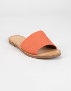 Soda Single Strap slide sandals. Features a soft suede upper. Synthetic sole and outsole. Slip-on style. Imported.
