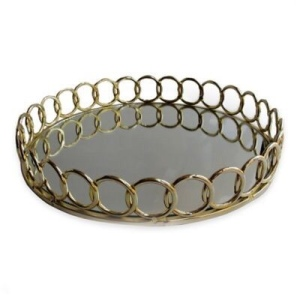 Round mirror tray looped metal