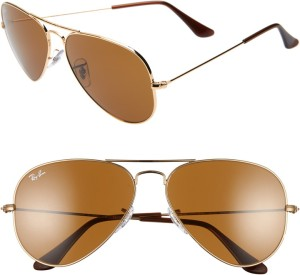 Classic aviator sunglasses make a timeless and sophisticated style statement, while adjustable nose pads ensure custom comfort. Style Name:Ray-Ban Standard Original 58mm Aviator Sunglasses. Style Number: 535689.