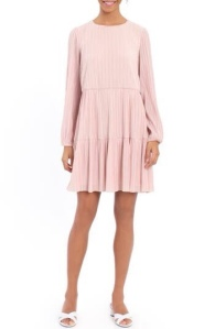 A-line pleated variegated dress