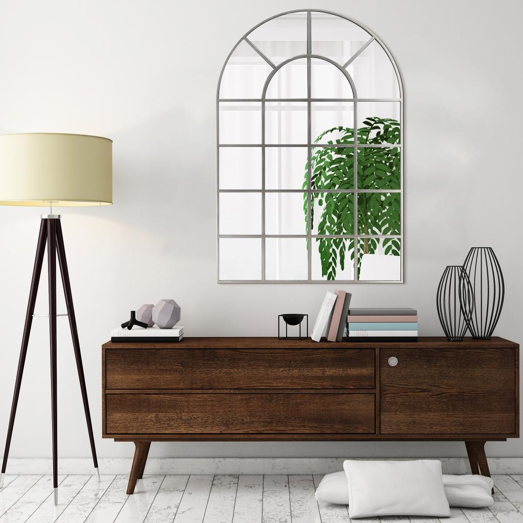 "Empire Art Direct Arch Window Pane Mirror Wall Floor Mirror, 30"""" x 44"""", Ready to Hang"