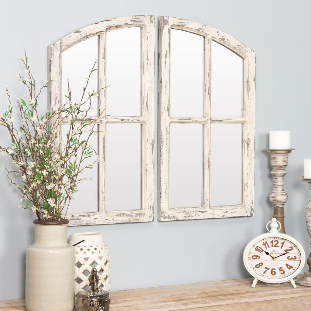 "Jolene Arch Window Pane Mirrors Off-White 27"""" x 15"""" (Set of 2) by Aspire by:  @Walmart.com"